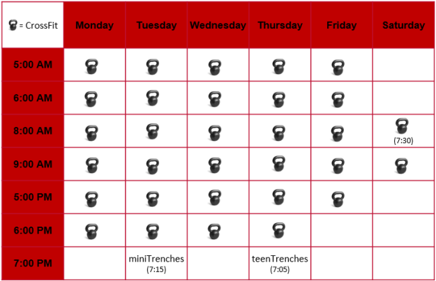 Trenches Schedule